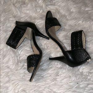 Michael Kors black leather braided ankle wrap heel